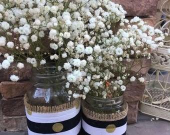 Mason Jar Wrap, Stripe & Gold Dot, Black, White, Polka Dots, Mason Jar Decoration, Baby Shower, Party, Wedding Decoration