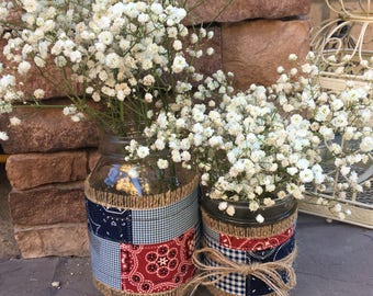 Mason Jar Wrap, Western, Gingham, Bandana, Cowgirl, Cowboy, Barn, Wedding, Shower, Party, Centerpiece, Decoration
