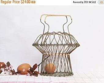 French vintage wire eggs basket, fruits basket, original shaped mid century wire basket