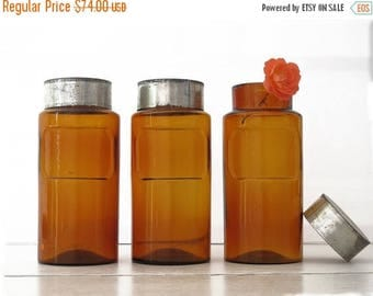 1 Extra Large French antique  pharmacy bottle - brown apothecary jar- Amber bottle - Curio cabinet - brown glass jar