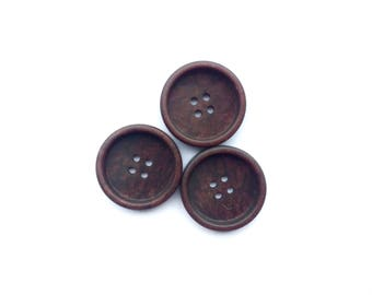 3 Large Burgundy Brown Antique Buttons, 38mm