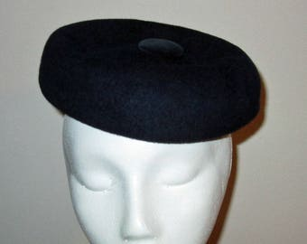 PRICE DROP! Vintage Hat Cap Blue Wool and Button by Henry Pollack Glenover Photo Prop