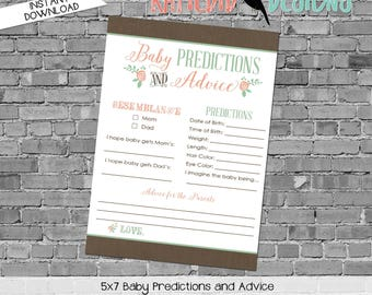 baby shower games printable baby predictions stats advice 1379 flowers storybook floral rustic digital gender sprinkle chic coral mint