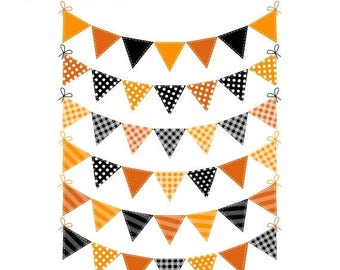 40% OFF SALE Halloween Fall Orange Clip Art Bunting, Halloween Banner Flags Clipart, Digital Fall Bunting, Instant Download