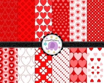 40% OFF SALE Valentine Hearts Digital Scrapbook Paper, Valentine's Day Digital Paper, Hearts Digital Paper Pack, Commercial Use