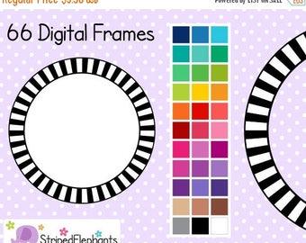 40% OFF SALE Striped Circle Digital Frames 1 - Clip Art Frames - Instant Download - Commercial Use