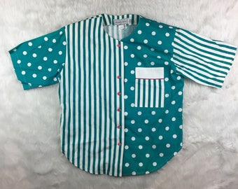 Woman's Vintage Howard Wolf Short Sleeve Button Up Shirt Size 8 Polka Dot Stripe