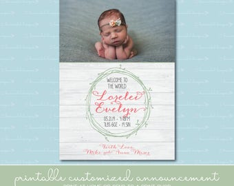 Wreath and Wood Birth Announcement with Photo