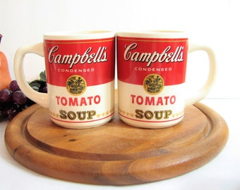 Vintage Campbell's Condensed Tomato Soup Mugs, Coffee Cups, Set of 2, Older Incised USA Mark ... 10oz Mugs
