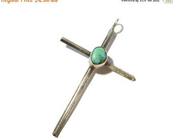 ON SALE Vintage Sterling Silver Turquoise Cross Pendant #2417