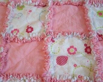 Small Rag Quilt - Rag Blanket - Baby Blanket - Baby Rag Blanket - Pink rag Blanket - Pink Baby Rag Blanket - Baby Gift - Baby Shower Gift