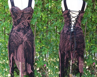 Gothic Dress - Black and Brown Spider Webb Dress - Halloween Costume - Gothic Dress
