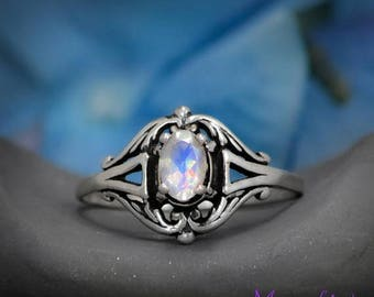 ON SALE Edwardian Style Filigree Engagement Ring with Rainbow Moonstone in Sterling - Silver Filigree Promise Ring - Rainbow Moonstone Brida