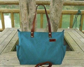 On Sale 20% off Double purpose teal green bag, leather strap tote bag, unisex messenger bag with personalized name tag, leather strap handba