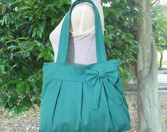 On Sale 20% off Turquoise green cotton canvas purse with bow / canvas tote bag / shoulder bag / hand bag / diaper bag