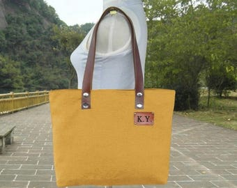 On Sale 20% off Golden canvas tote bag, personalized leather strap tote bag, women's shoulder bag with unique tag