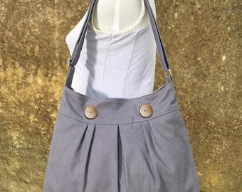 On Sale 20% off gray cotton canvas travel bag / shoulder bag / messenger bag / diaper bag / cross body bag, zipper closure