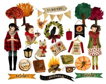 Watercolor fall clipart, planner clipart, fall quotes, thanksgiving clipart, fall digital clipart, pumpkin clipart