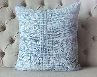 "18""x18"" Vintage Indigo batik Hmong cushion cover, Handmade Batik Fabric,Decorative-Throw Pillow,Decorative cushion,"