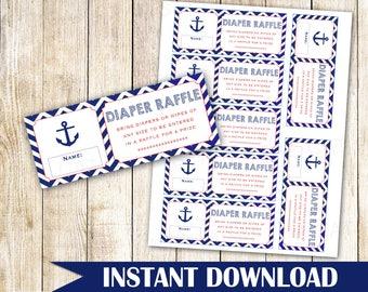 Nautical Diaper Raffle Nautical Baby Shower Diaper Raffle Nautical Anchor Diaper Raffle Baby Shower Bring Diaper Card INSTANT DOWNLOAD