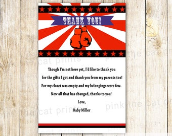 Boxing Thank you Card Boxing Thank You Notes Boxing Baby Shower Greeting Card Boxing Birthday Party Red Printable File Personalized Card