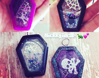 Coffin Double Sided Resin Shaker Charms