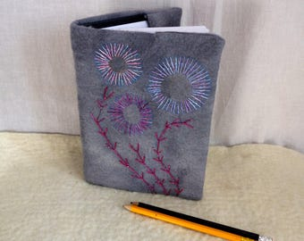 Felted embroidered book cover  removable book cover felted notebook sketchbook covered notebook shades of grey removable cover felted cover