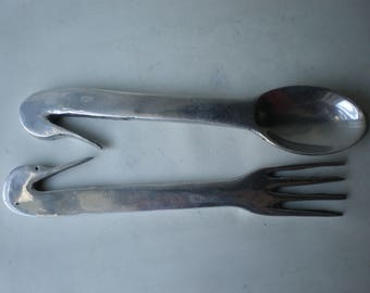 Vintage Beautiful Unusual Silver Large Salad Spoon and Fork with Duck Handles