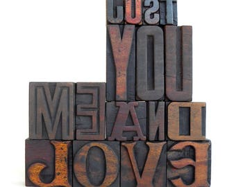 25% OFF -Just YOU me and LOVE - 16 Vintage Letterpress Wood Type Alphabets - VG12