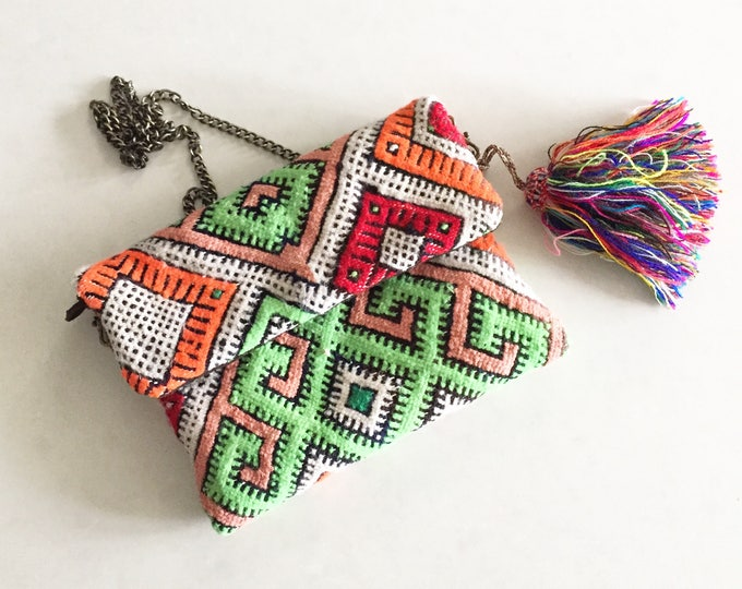 Featured listing image: Vintage Moroccan Kilim Clutch, Kilim Cross Body Bag , Moroccan Carpet Bag