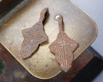 Set of 2 Antique metal Old cross Christian Cross pendant. Orthodox church
