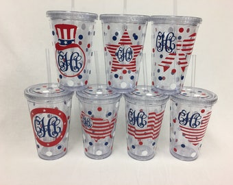 Patriotic Personalized w/name acrylic tumbler, picnic, BBQ, Available in skinny, standard, sport bottle, mason, kiddie cup & XL cup