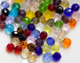 450 psc Rondelle Shape Assorted Colors 8mm Faceted Crystal Glass Beads For Jewelry Making