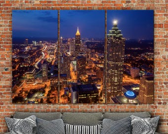 Atlanta Skyline Art, Brite Night Atlanta Canvas, Atlanta Art, Atlanta Photo, Large Wall Art, Atlanta Wall Art, Atlanta Skyline Print