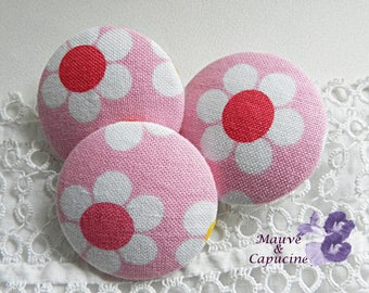 Floral fabric button pink and white, 32 mm in diameter