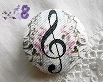 Fabric button, music, 0.94 in / 24 mm