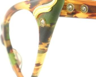 Vintage Cat Eye Glasses Eyeglasses Sunglasses New Frame Eyewear Marbled Browns Green