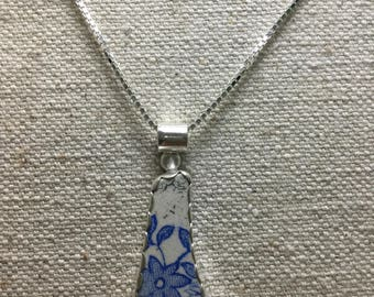 Sterling silver and English pottery necklace