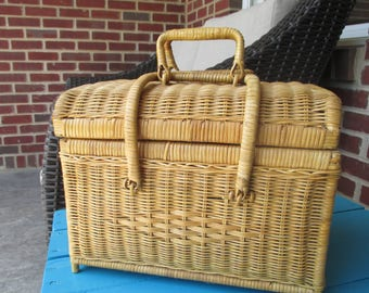 Vintage Wicker Picnic Basket With Handles