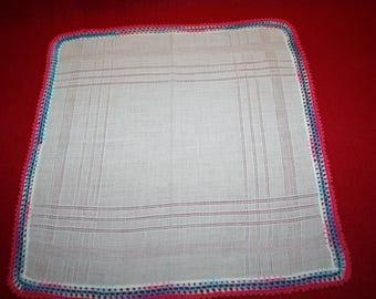Vintage Ladies Handkerchief- Crocheted Edging