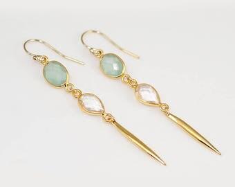 Long thin Gold Earrings - Minimal Jewelry - Aqua Blue Long Gold Dangle Earring - Spike Earrings - Needle Earrings - Modern Earrings
