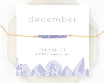 December Birthstone Necklace, Beaded Tanzanite Jewelry, Summer Wedding, Small Stone Necklace, Purple Gemstone, Celestial Necklace, Layering