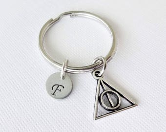 Harry Potter Keychain Deathly Hallows Inspired Silver Triangle Pendant Stainless Steel Initial Personalized Hand Stamped BFF Friend Gift