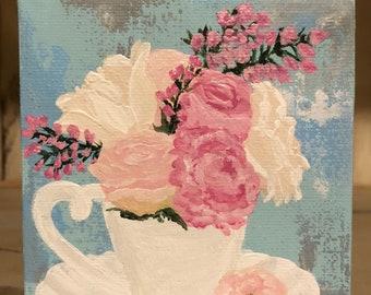 Tea party, floral art, spring artwork , Mother's Day, Easter