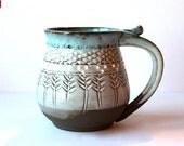 Custom Listing for Cori, Garlic Keeper, Dark Brown Stoneware, Milk-White and Blue Glaze