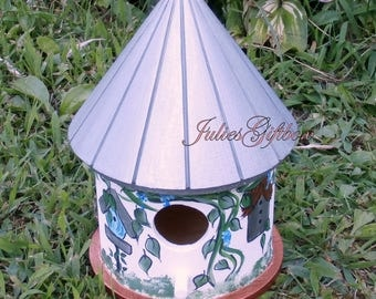 Hand Painted Bird House-Silver, Copper,Gold-Indoor Decorative Painted Birdhouse-Special Occation Gift-Ready To Ship