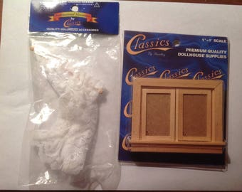 Miniature dollhouse  window and curtains set of 2 packages