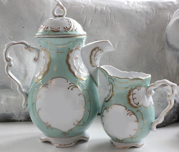 ANY DESIGN - 3-Piece Green or Blue and Gold Custom Tea Set, Personalized Tea Set, Bespoke Tea Set, Custom Teapot, Blue Green Tea Set