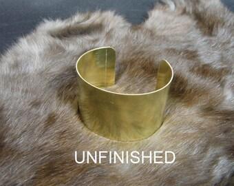 "Brass Cuff Bracelet Blank, 1 1/2"" x 6"", One DOZEN Unfinished for decoupage, bead embroidery, basket weave bracelets, alcohol inks"