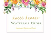 Flower Clipart,floral drops, floral roses clipart,rainbow watercolor clipart,wildflower clipart png